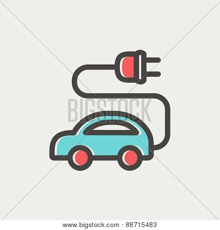 Electric car icon thin line for web and mobile, modern minimalistic flat design. Vector icon with dark grey outline and offset colour on light grey background.