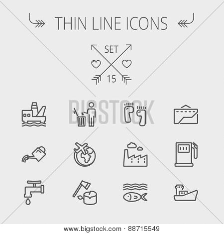 Ecology thin line icon set for web and mobile. Set includes-gasoline pump, fish, ship, garbage bin,watering can, faucet, global icons. Modern minimalistic flat design. Vector dark grey icon on light