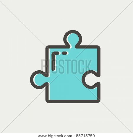 Jigsaw puzzle thin line iconw puzzle icon thin line for web and mobile, modern minimalistic flat design. Vector icon with dark grey outline and offset colour on light grey background.