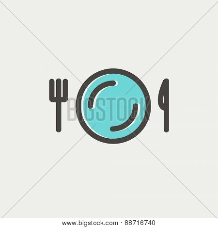 Plate, knife and fork icon thin line for web and mobile, modern minimalistic flat design. Vector icon with dark grey outline and offset colour on light grey background.