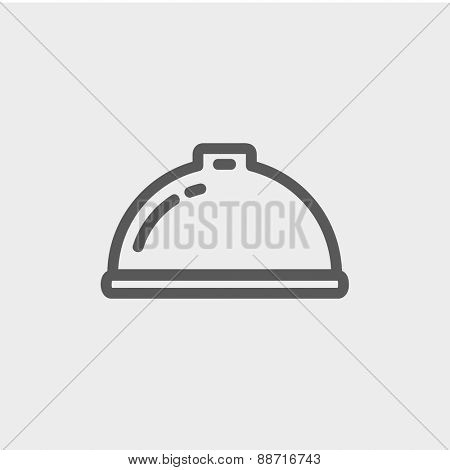 Food serving tray icon thin line for web and mobile, modern minimalistic flat design. Vector dark grey icon on light grey background.