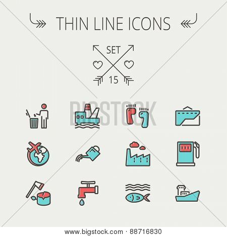 Ecology thin line icon set for web and mobile. Set includes-gasoline pump, fish, ship, garbage bin,watering can, faucet, global icons. Modern minimalistic flat design. Vector icon with dark grey