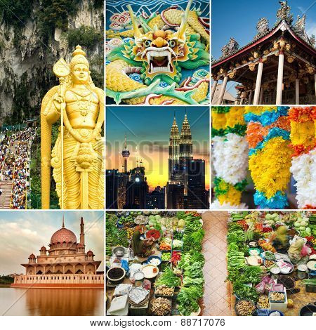 Collage of Malaysia attractions and landmark. All picture belongs to me. poster