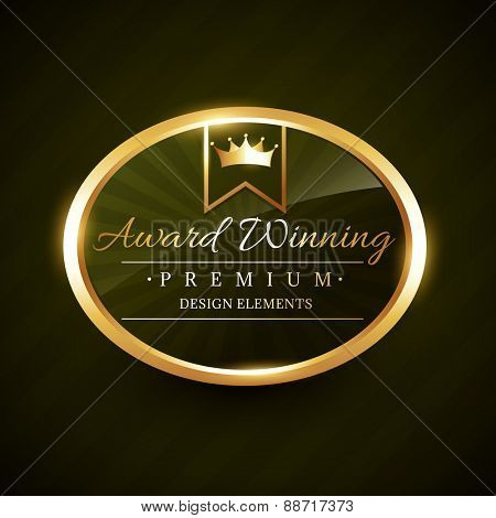 beautiful award winner golden label badge vector design illustration