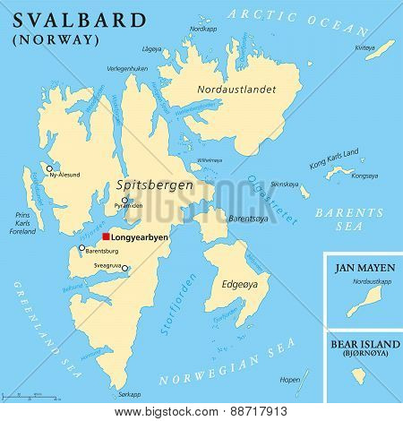 Svalbard Political Map