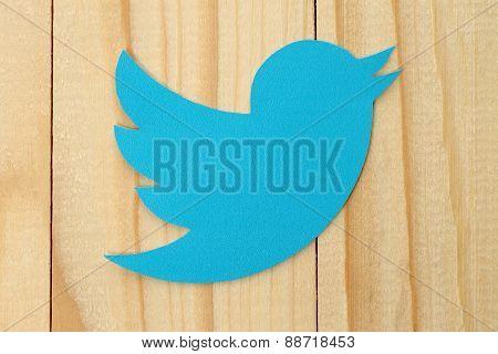 KIEV UKRAINE - FEBRUARY 19 2015:Twitter logotype bird