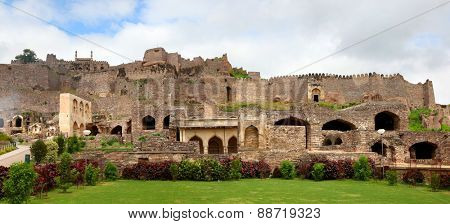 Panoramic view of Historic Golkonda fort in Hyderabad, India