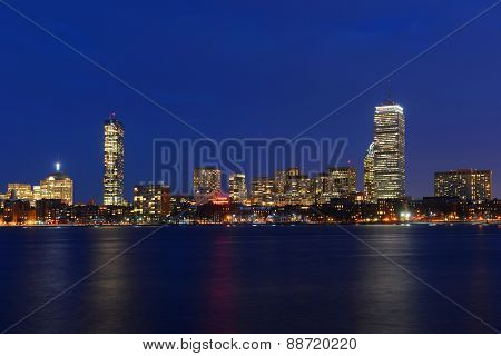 Boston Back Bay Skyline John Hancock Tower and Prudential Center night scenes, viewed from Cambridge, Boston, Massachusetts, USA.