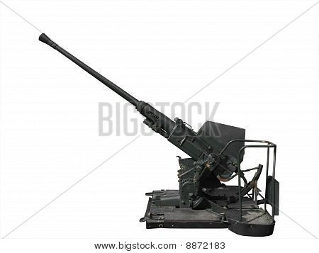 Anti-aircraft gun light 40mm isolated on white with cutting- path poster