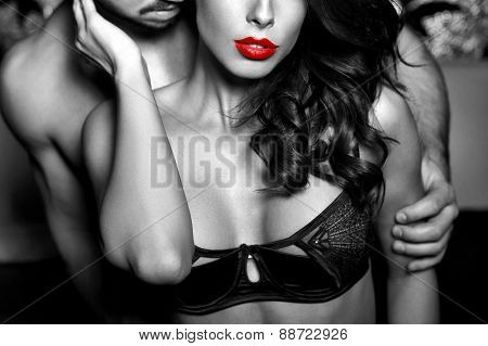 Sensual Woman In Underwear With Young Lover Closeup Black And White
