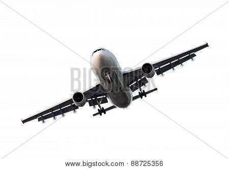 Large commercial airplane isolated on white background poster