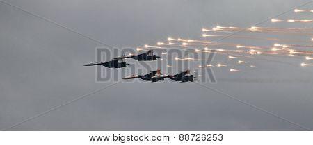 MiG-29 fighter fires a missile