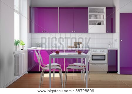 Small clean bright kitchen with purple kitchenette (3D Rendering)