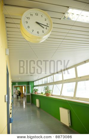 hospital corridor with watch