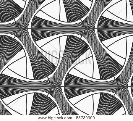 Monochrome Dark Striped Tetrapods With Grid