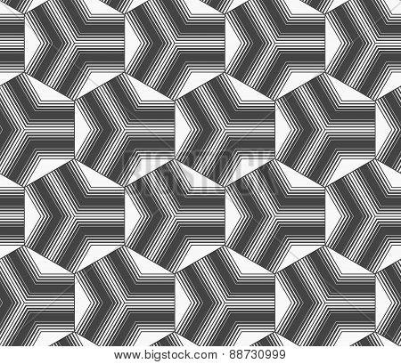 Monochrome Gradually Striped Black Tetrapods