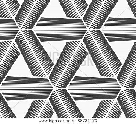 Monochrome Halftone Striped Tetrapods With White Grid