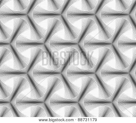 Monochrome Halftone Striped Tetrapods