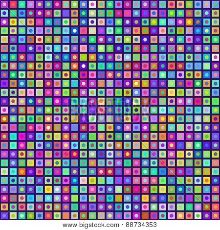 Multicolored Circles Inside Squares Seamless Background. Eps8 Vector