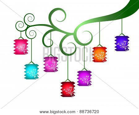 Colorful lanterns on the branch