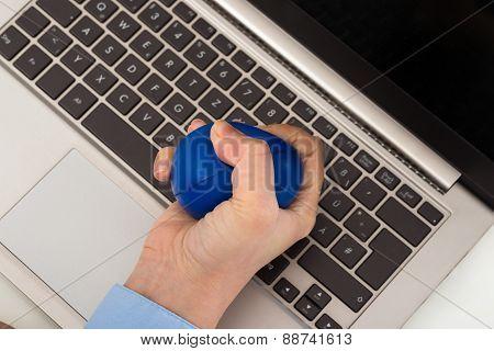 Businesswoman Hand Squeezing Stress Ball