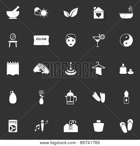 Massage Icons On Gray Background