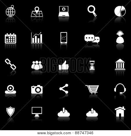 Seo Icons With Reflect On Black Background