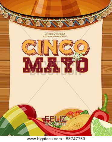 Cinco de Mayo. Text in Spanish.