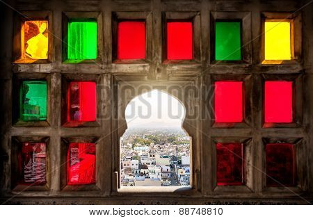 Colorful Mosaic Window In Rajasthan