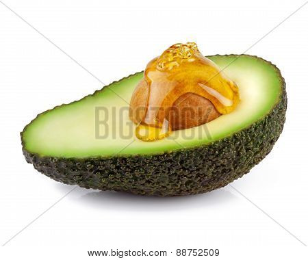 isolated avocado with oil