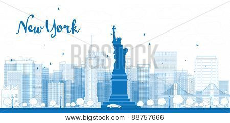 Outline New York city skyline with skyscrapers. Vector illustration