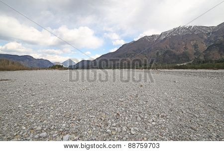 River Bed With Many Cobblestone And Rocks