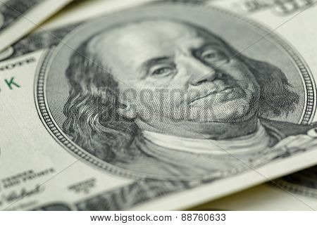 Benjamin Franklin on hundred dollar banknote,