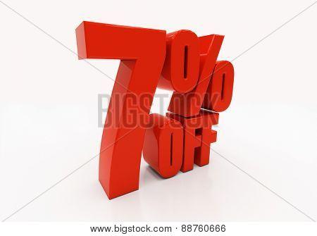 7 percent off. Discount 7. 3D illustration