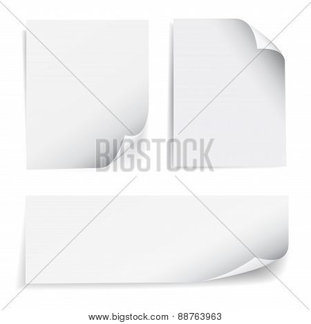 Set of blank sheet of paper with page curl and shadow effect design element for advertising and promotional message isolated on white background. EPS 10 vector illustration. poster