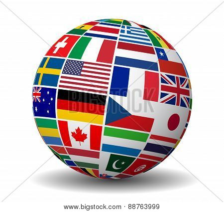 International Business World Flags Globe