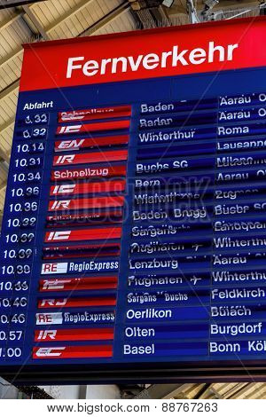 Zurich in Switzerland. train station info for departure times,