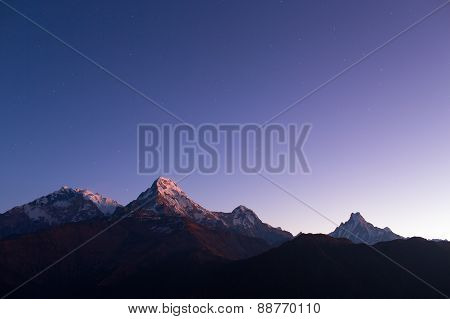 Annapurna I Himalaya Mountains View From Poon Hill 3210M At Sunrise