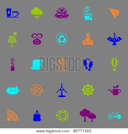 Clean Concept Icons Fluorescent Color On Gray Background