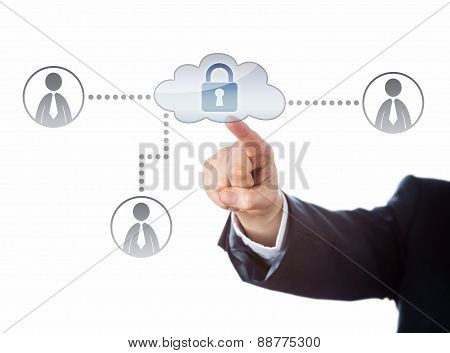 Right Arm Reaching To A Locked Cloud Network Icon
