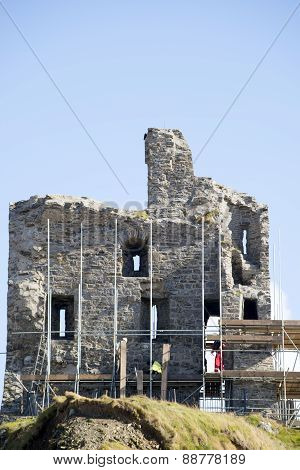 Ballybunion Castle With Work Men Scafolding