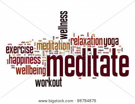 Meditate Word Cloud With White Background