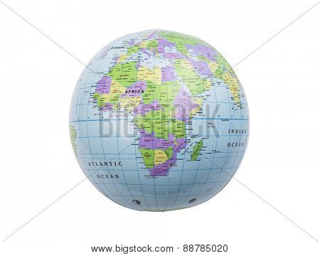 Inflated plastic earth toy showing Africa