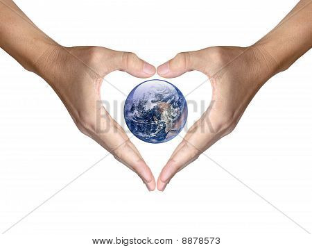 Two Hands Make Heart Shape Cover The Earth