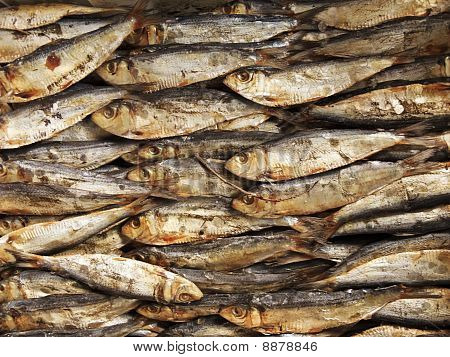 Dried and salted fish in Asian market poster