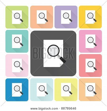 Paper With Magnifying Glass Icon Color Set Vector Illustration