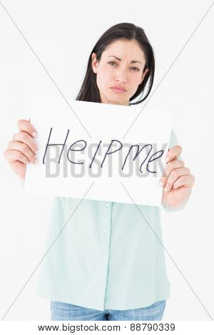 Sad woman asking for help on white background