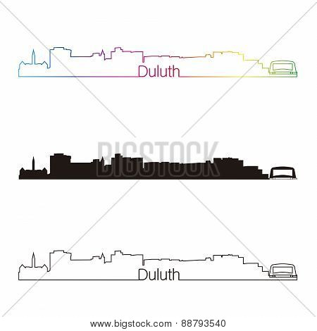 Duluth Skyline Linear Style With Rainbow