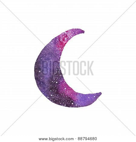 Watercolor galaxy crescent moon on the white background, aquarelle. Vector illustration.
