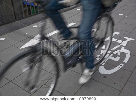 Commuters On Cycle Lane